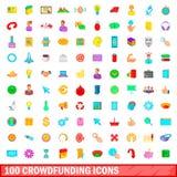100 ícones crowdfunding ajustados, estilo dos desenhos animados ilustração royalty free