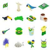 Ícones 3d isométricos de Brasil Foto de Stock