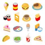 Ícones 3d isométricos do fast food ajustados ilustração stock