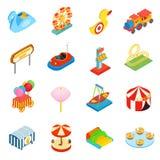 Ícones 3d isométricos do parque de diversões Fotografia de Stock
