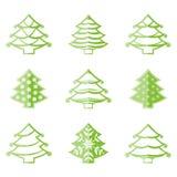 Ícones da árvore de Natal Imagens de Stock