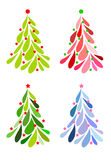 Ícones da árvore de Natal ajustados Fotos de Stock Royalty Free