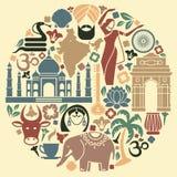 Ícones da Índia sob a forma de um círculo Fotos de Stock