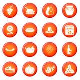 Ícones da ação de graças ajustados ilustração royalty free