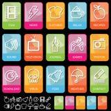 Ícones da aba no preto, jogo 2 Fotografia de Stock