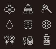 Ícones da abelha e do mel Imagens de Stock