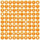 100 ícones da agricultura ajustados alaranjados ilustração royalty free