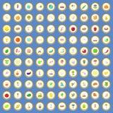 100 ícones da agricultura ajustaram o vetor dos desenhos animados Foto de Stock Royalty Free