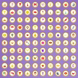 100 ícones da alegria ajustados no estilo dos desenhos animados Foto de Stock Royalty Free
