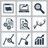 Ícones da análise de dados do vetor ajustados Imagens de Stock