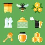 Ícones da apicultura ilustração royalty free