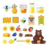 Ícones da apicultura e do mel ilustração do vetor