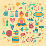 Ícones da aptidão ajustados ilustração royalty free
