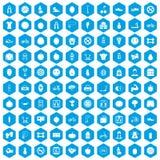 100 ícones da aptidão ajustados azuis ilustração stock
