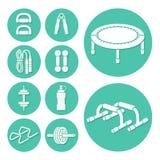 Ícones da aptidão e do exercício ajustados Imagens de Stock