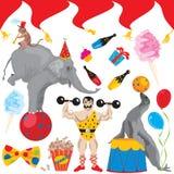 Ícones da arte de grampo da festa de anos do circo ilustração do vetor
