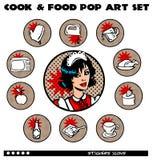 Ícones da arte de PNF do cozinheiro e do alimento ajustados Foto de Stock