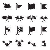 Ícones da bandeira ajustados Imagem de Stock