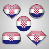 Ícones da bandeira da Croácia Fotografia de Stock