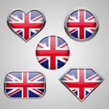 Ícones da bandeira de Inglaterra Fotografia de Stock