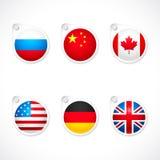 Ícones da bandeira de país Imagens de Stock
