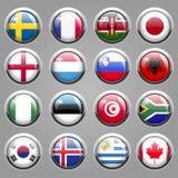 Ícones da bandeira do mundo Fotografia de Stock Royalty Free