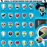 Ícones da bandeira do ponteiro de África com mapa africano set1 Fotografia de Stock