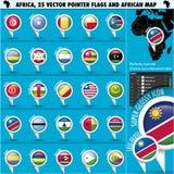 Ícones da bandeira do ponteiro de África com mapa africano set2 Imagens de Stock