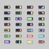 Ícones da bateria Foto de Stock Royalty Free