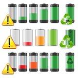 Ícones da bateria do vetor ajustados Foto de Stock Royalty Free