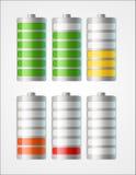 Ícones da bateria do vetor com nível de cobrar Fotografia de Stock