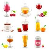 Ícones da bebida Fotos de Stock
