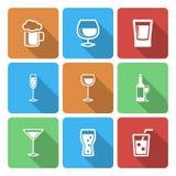 Ícones da bebida com sombra longa Fotografia de Stock Royalty Free