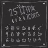 Ícones da bebida da tração ajustados Fotos de Stock Royalty Free
