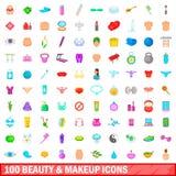 100 ícones da beleza e da composição ajustaram-se, estilo dos desenhos animados Imagem de Stock Royalty Free