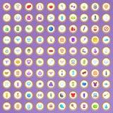100 ícones da beleza e da composição ajustaram-se no estilo dos desenhos animados Foto de Stock