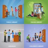 Ícones da biblioteca ajustados ilustração do vetor