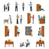 Ícones da biblioteca ajustados ilustração stock