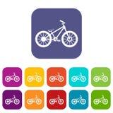 Ícones da bicicleta ajustados ilustração royalty free