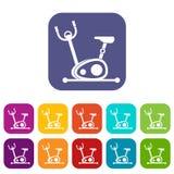 Ícones da bicicleta de exercício ajustados ilustração royalty free