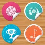 Ícones da bola de golfe Símbolo da concessão da grinalda do louro ilustração stock