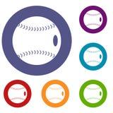 Ícones da bola do basebol ajustados ilustração stock