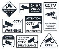 Ícones da câmara de segurança, símbolos do cctv ilustração do vetor