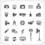 Ícones da câmera e ícones dos acessórios da câmera ajustados ilustração stock
