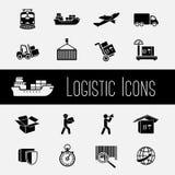 Ícones da cadeia de aprovisionamento ajustados ilustração stock