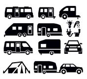 Ícones da camionete de campista Fotografia de Stock