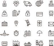 Ícones da carga, da entrega, do transporte do frete & do transporte Imagem de Stock