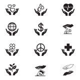 Ícones da caridade ajustados Fotografia de Stock Royalty Free