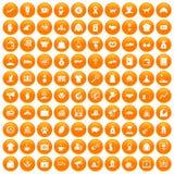 100 ícones da caridade ajustados alaranjados ilustração stock