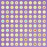 100 ícones da caridade ajustados no estilo dos desenhos animados Fotografia de Stock Royalty Free